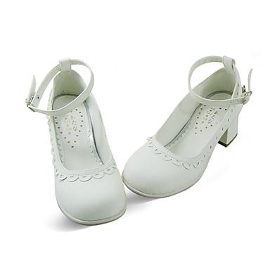 artesanal de couro branco pu 4.5cm alta calcanhar sapatos país lolita