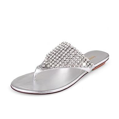 Leatherette Flat Heel Sandals / Flip Flops Honeymoon Shoes With Rhinestones