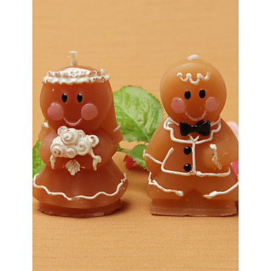 Adorable Gingerbread Bride & Groom Candle Favors(set of 8) Wedding Favors