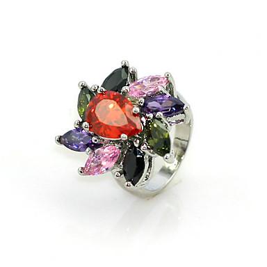 gorgeous multicolor sześcienny platyny cyrkonu plated nieregularny kształt pierścienia moda