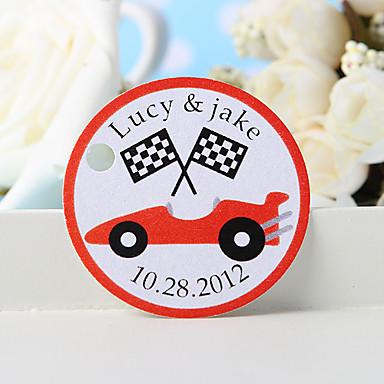 kişiselleştirilmiş lehçe etiketi - kırmızı araba (set 36) düğün iyilikleri iyidir