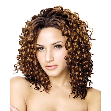Lace Front Long High Quality Synthetic Curly Brown Hair Wig
