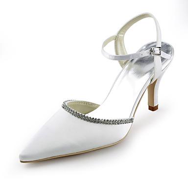 kvinners sko silke stiletto hæl hæler / spiss tå hæler bryllup / fest& kveld / kjole hvit