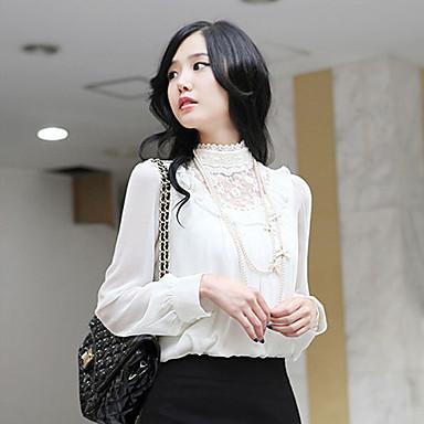 pizzo donna maniche in chiffon lungo tempo di stand colletto della camicia