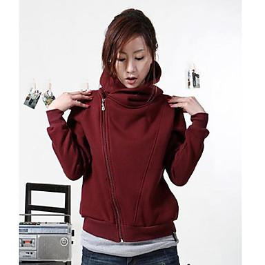 Women'S Long Sleeve Oblique Zipper Cardigan Slim Temperament Hooded Sweater Coat