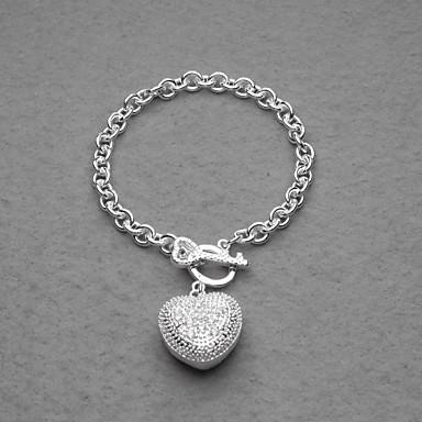 mode silverpläterade rhinestone hjärta charm kvinnors armband