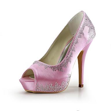 satin Stiletto Heel pumper / platform med rhinestone bryllup part damesko