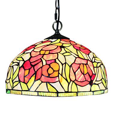 60W 1 - Tiffany de sticla lumina pendente lumina cu trandafiri model