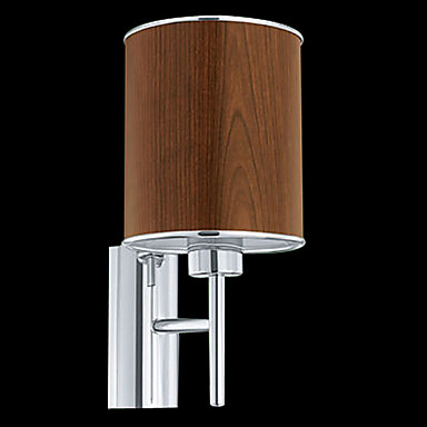 60W 1 - Light Fabric Wall Light in Brown Shade