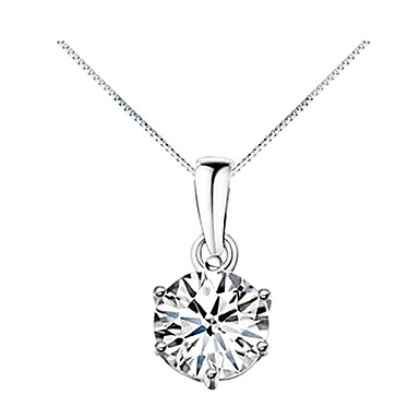 Women's Cubic Zirconia Pendant Necklace - Zircon, Cubic Zirconia Fashion Silver Necklace For Daily