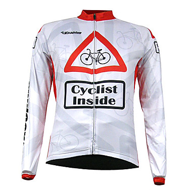 Kooplus Men's Long Sleeves Cycling Jersey - White Bike Jersey, Thermal / Warm, Quick Dry, Breathable