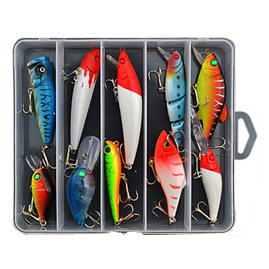 10 pcs خدع الصيد طعم صيد جامد حقيبه طعم البلاستيك الجامد الصيد البحري صيد الأسماك في المياه العذبة باس الصيد