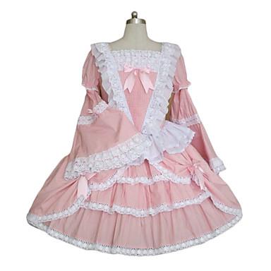 utsvängda ärm rosa terylen v-formad spets prinsessa lolita klänning