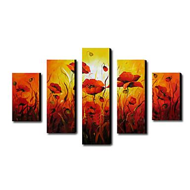 Ručně malované Květinový/Botanický motiv jakýkoliv tvar Plátno Hang-malované olejomalba Home dekorace Pět panelů