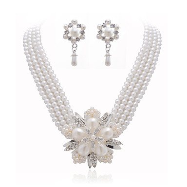 Gorgeous Clear Crystals And Imitation Pearls Jewelry Set,Including Necklace And Earrings