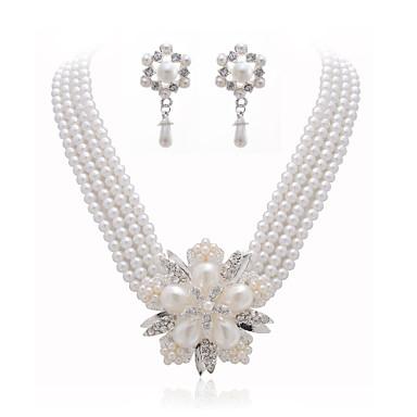 gorgeous Kristallen und Nachahmungen von Perlen Schmuck-Set, einschließlich Kette und Ohrringe