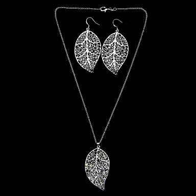 Beautiful Silver Plated Big Leaf Women's Jewelery Set Including Necklace,Earring