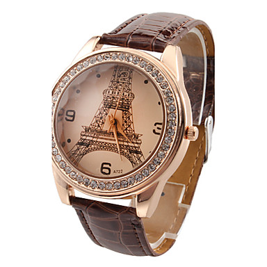 cheap Women's Watches-Women's Wrist Watch Quartz Quilted PU Leather Black / White / Red Imitation Diamond Analog Ladies Casual Eiffel Tower Fashion - Rose Brown Red One Year Battery Life / Jinli 377