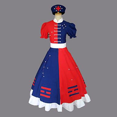 Esinlenen Touhou Project Eirin Yagokoro Video oyun Cosplay Kostümleri Cosplay Takımları / Elbiseler Zıt Renkli Kısa Kollu Elbise / Kemer / Şapka Cadılar Bayramı Kostümleri