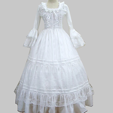 Medieval Victorian Costume Women's Dress Masquerade Party Costume Vintage Cosplay Cotton Long Sleeves Poet Long Length