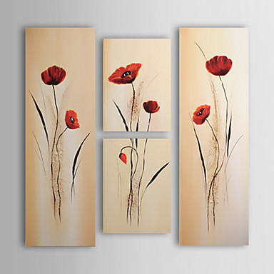 El-Boyalı Çiçek/Botanik Dörtgen Tuval Hang-Boyalı Yağlıboya Resim Ev dekorasyonu Dört Panelli