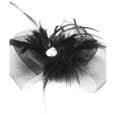 Tulle Crystal Feather Fabric Tiaras Fascinators 1 Wedding Special Occasion Party / Evening Headpiece