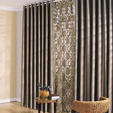 Maßgfertigt Verdunkelung Verdunklungsvorhänge Vorhänge zwei Panele 2*(W99cm×L178cm) Gold / Schlafzimmer