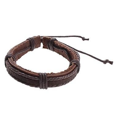 voordelige Herensieraden-Heren Bedelarmbanden Lederen armbanden Uniek ontwerp Modieus Leder Armband sieraden Grijs / Bruin Voor Kerstcadeaus Sport