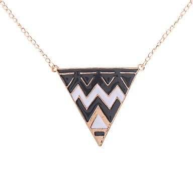 Z&X®  Oil Drip Alloy Triangle Shape Sweater Necklace