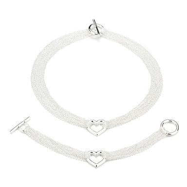 Silver Plated Multiline Hermosa Y El Corazón de Mujer Joyería Set incluyendo el collar, pulsera