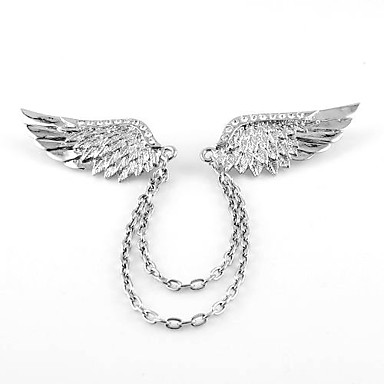 Men's Vintage Rhinestone Feather Brooch