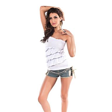Chic Mujer Bandeau top con volantes (Longitud: 48cm Busto :86-102cm Cintura :58-79)