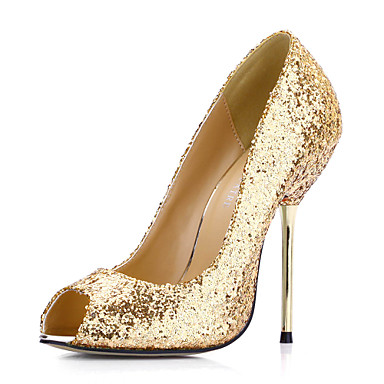 Peep Toe Stiletto Heel Pumps with Sequin Party& Evening Women's Shoes