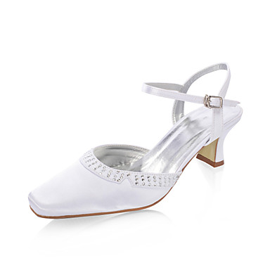 satin chunky klack sandaler med strass för bröllop (fler färger)