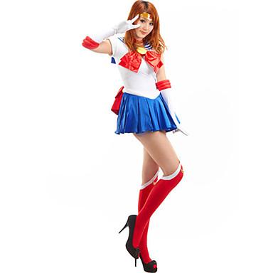 Inspirerad av Sailor Moon Sailor Moon Animé Cosplay-kostymer cosplay Suits Lappverk Ärmlös Kravatt Klänning Handskar Strumpbyxor Band Till