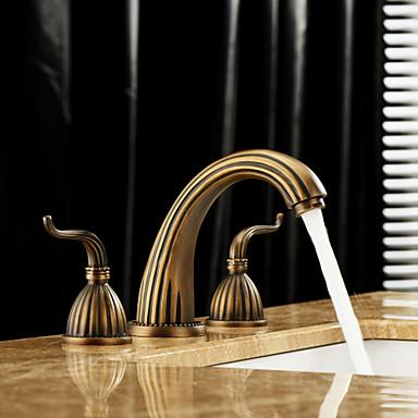 Μπάνιο βρύση νεροχύτη - Εκτεταμένο Πεπαλαιωμένος Ορείχαλκος Αναμεικτικές με ξεχωριστές βαλβίδες Τρεις Οπές / Δύο λαβές τρεις οπέςBath Taps