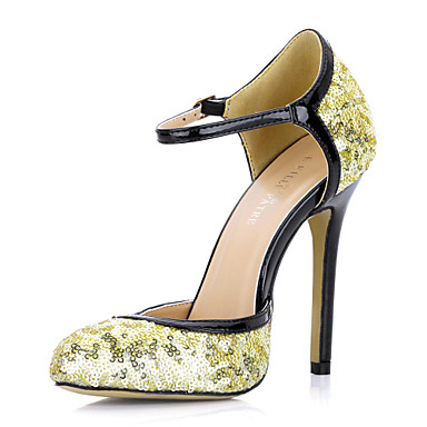 Elegant Leatherette Stiletto Heel Closed Toe Pumps With Sequin Party / Evening Shoes