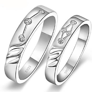 טבעת 'זוגות סגסוגת כסף מצופה פלטינה ואופנה