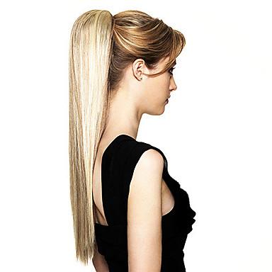 Haut Qualité synthétique longue queue de cheval blonde droite