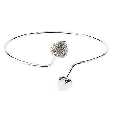 baratos Bangle-Mulheres Bracelete Coração Amor Luxo Estilo simples Aberto Imitações de Diamante Pulseira de jóias Para Casamento