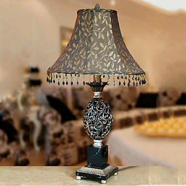 40W Artistic Table Light with Retro Fabric Shade and Handcrafted Resin Lampstand