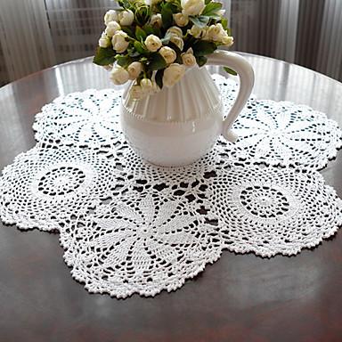 100% Baumwolle Kreisförmig Platztdeckchen Solide / Blumen Umweltfreundlich Tischdekorationen 1 pcs