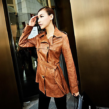 Women's Belted Solid Colored PU Leather Coat