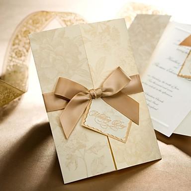 oro floreale stile tri-folded inviti matrimonio (set di 50)