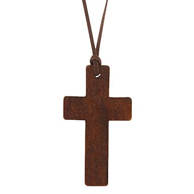 Kors Form Halskædevedhæng Læder Træ Halskædevedhæng Daglig Kostume smykker