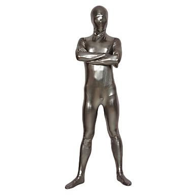 Shiny Zentai Anzüge Ninja Zentai Kostüme Cosplay Kostüme Silber Solide Gymnastikanzug / Einteiler Zentai Kostüme Glänzend Metallisch Herrn Damen Halloween Karneval / Hochelastisch