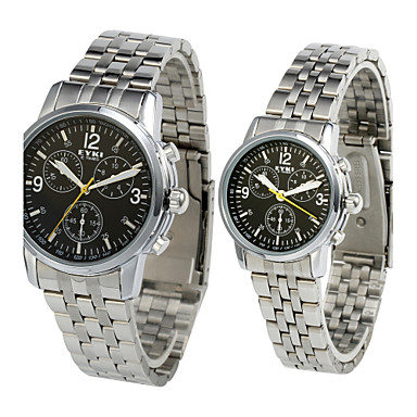 Fashion Alloy Glass Round Couples' Watches (A Pair)