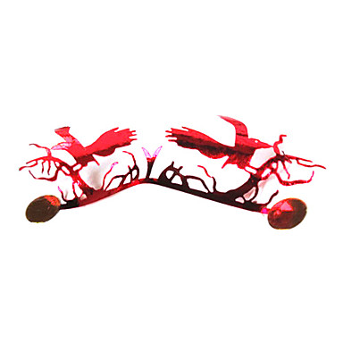 1 Pair Paper-Cut Art Handmade False Eyelash Red Garish NO.19
