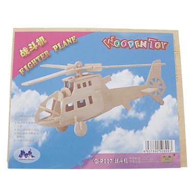 voordelige 3D-puzzels-3D-puzzels Houten puzzels Vechter Helikopter Plezier Puinen Klassiek Jongens Meisjes Speeltjes Geschenk