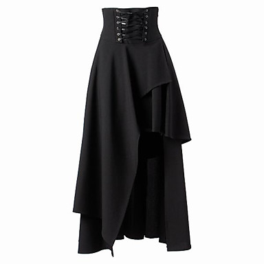 Steampunk Gothic Lolita Dress Steampunk Punk Rave Asymmetric Women's Skirt Cosplay Black Medium Length Costumes